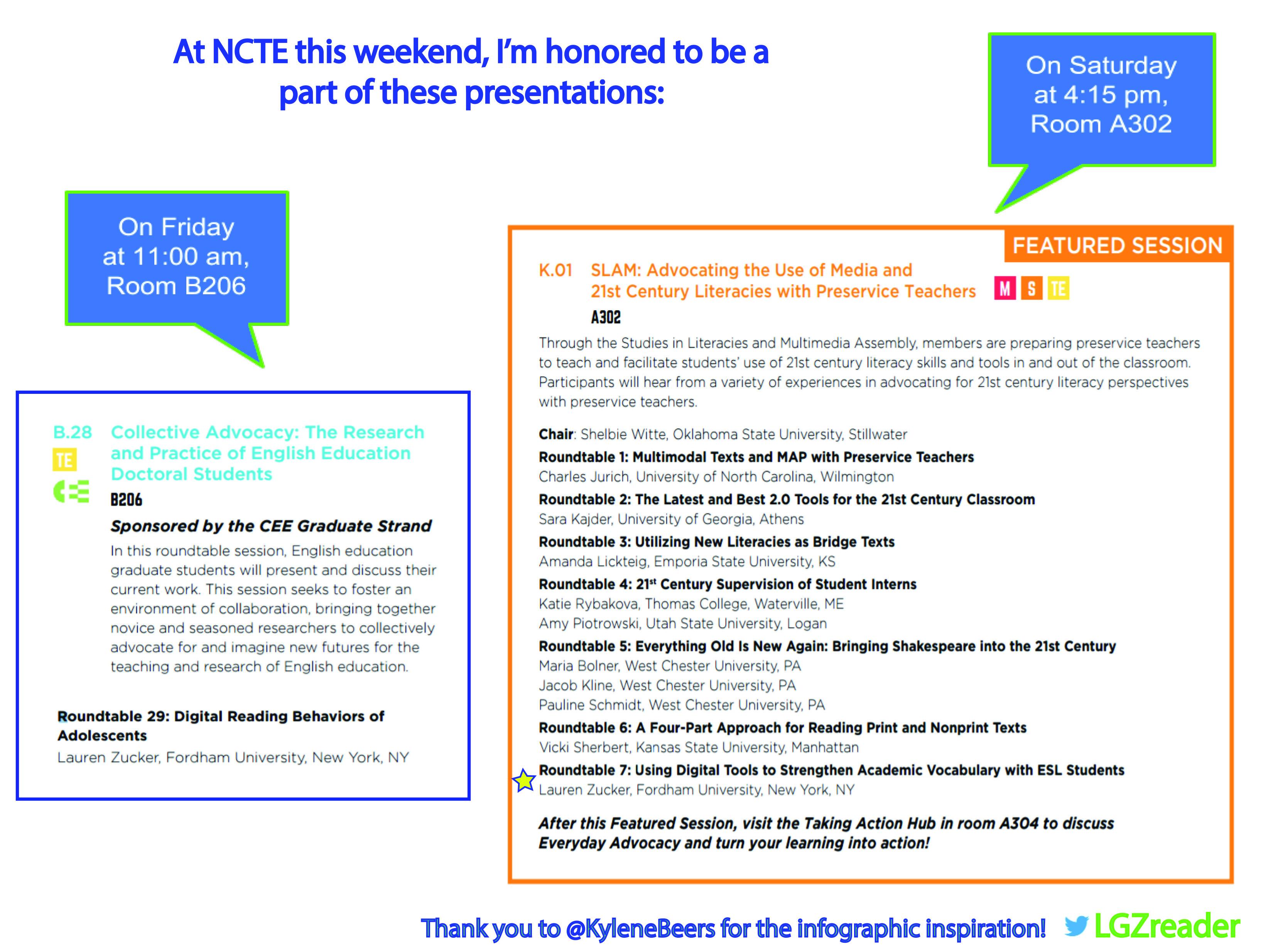NCTE Schedule 2016